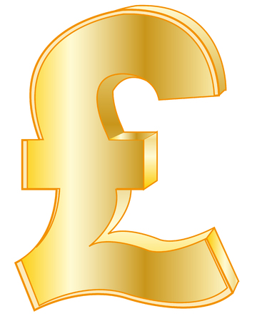 pound sterling: Firmar libra esterlina de dorar en el fondo blanco está aislado