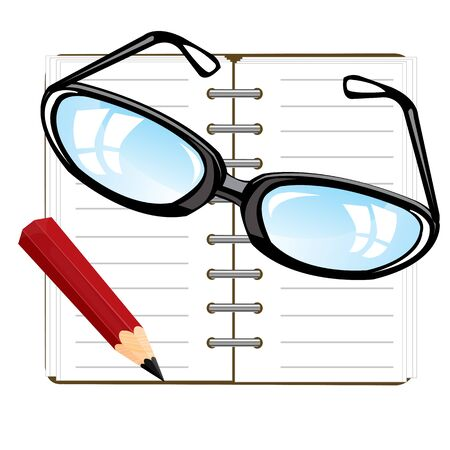 note pad: Open note pad and pencil with spectacles on white background Illustration