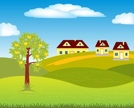 aple: The Small village amongst hills by summer.Vector illustration Illustration