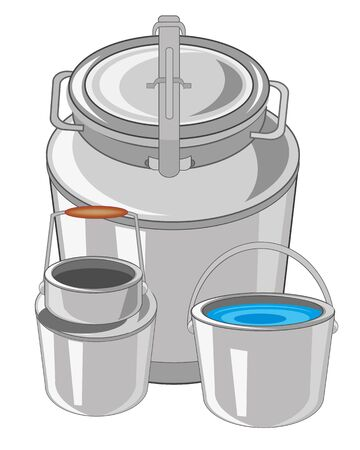 pail: Flask with can and pail on white background is insulated Illustration