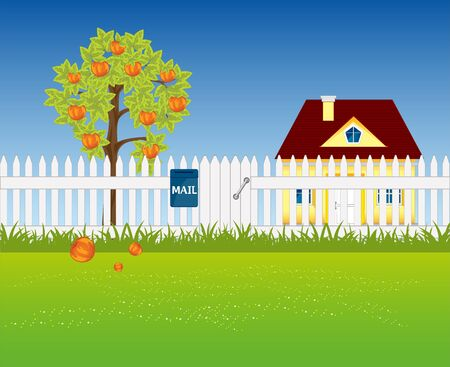 aple: The Garden area in rural terrain.Vector illustration