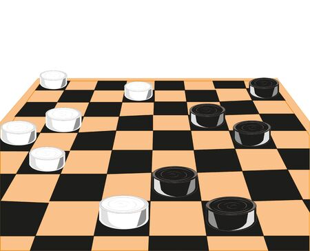 displacement: Chess board and checkers on white background is insulated
