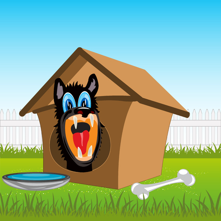 dog kennel: Irritating dog in kennel on rural area.Vector illustration
