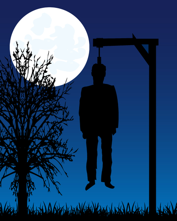 dead body: Dead body of the person on gallows moon in the night Illustration
