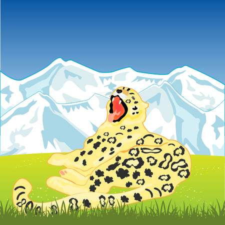 snow leopard: The Snow leopard on background of the wild nature.Vector illustration Illustration