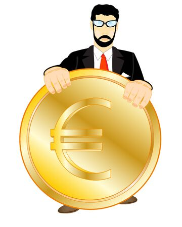 insulated: Golden coin in hand of the person on white background is insulated