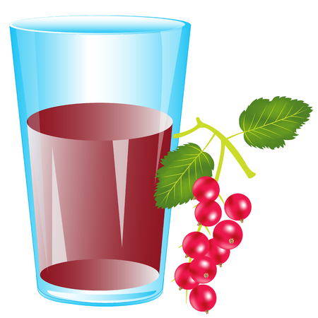 sorrel: Glass with drink from berry wood sorrel on white background Illustration