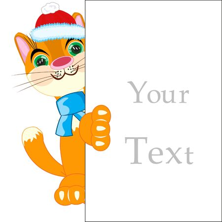 asiatic: Cat with a sign for your text