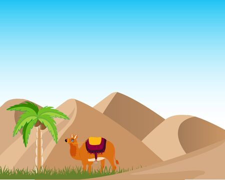 uninhabited: Sand desert and oasis with palm and camel.
