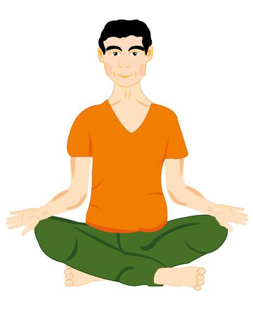 feeble: The Young man sits in pose yoga.Vector illustration Illustration