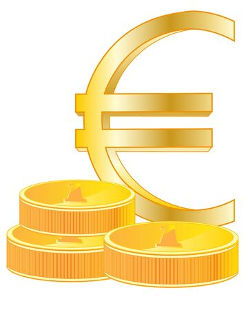 gild: Sign euro from gild on white background is insulated Illustration
