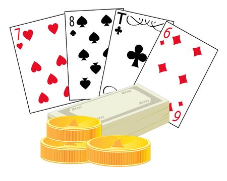 Playing cards and money on white background is insulated