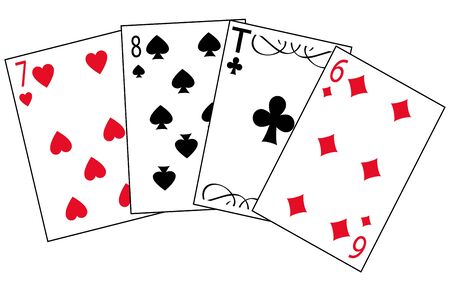 Cards for play of the different colors on white background is insulated Illustration