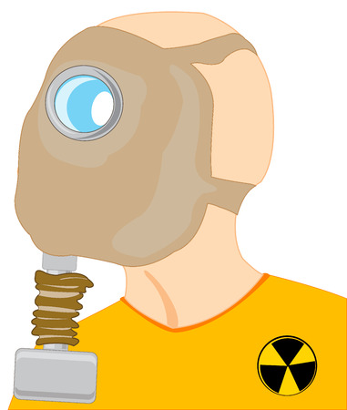 Head of the person in gas mask on white background is insulated Illustration