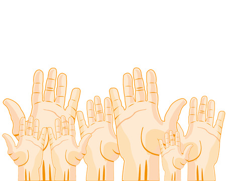 stretched: Hands of the people stretched upwards on white background is insulated