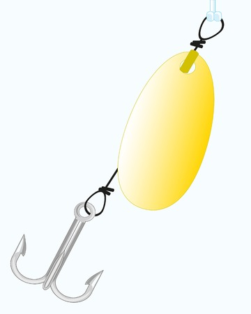 tine: Cordage for fishing of fish spoon bait on white background Illustration