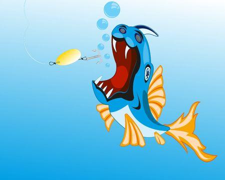 crock: Fish crock sails for bait spoon bait.Vector illustration