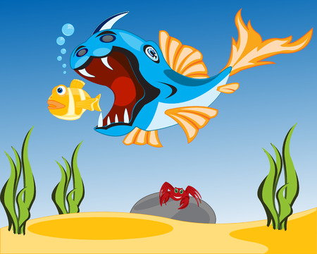 big fish: Big fish crock sails for small.Vector illustration