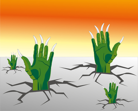 crock: The Hands of the crock climb from rift in floor.Vector illustration Illustration