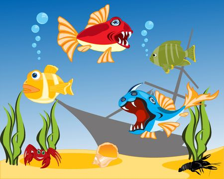 remains: Vector illustration of tropical fish and bottom of the ocean Illustration