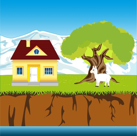 breakaway: The Lodge in rural riverside terrain.Vector illustration