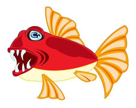 teeths: Vector illustration of tropical fish on white background is insulated Illustration