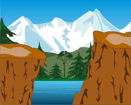 breakaway: The Beautiful landscape of the snow mountains and yard.Vector illustration