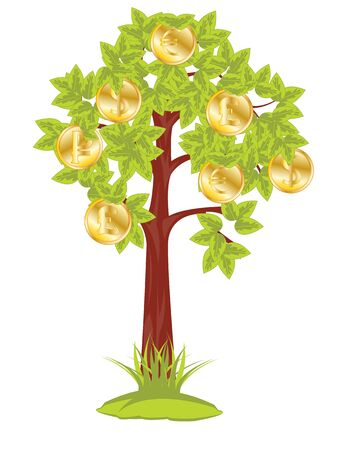 The Money tree on white background is insulated.Vector illustration