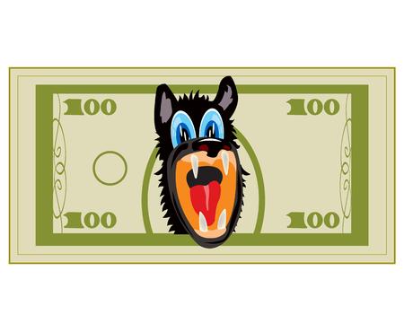 hundred dollar bill: Cartoon on money bill with head of the wolf
