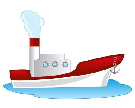 steamship: Steamship floating seaborne on white background is insulated