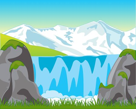 cascade mountains: The Beautiful mountain landscape with waterfall.Vector illustration Illustration