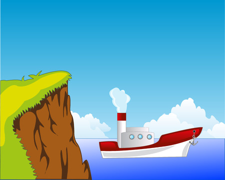 steamship: The Steep coast and white steamship seaborne.Vector illustration