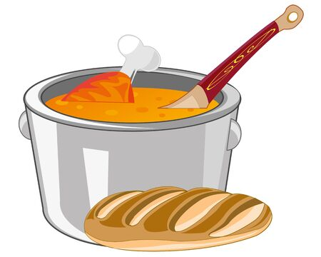 supper: Soup with meat in saucepan on white background is insulated Illustration
