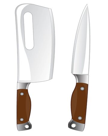 cutlass: Kitchen tools knife and cutlass on white background is insulated Illustration