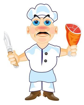 hubcap: Cartoon of the cook on white background is insulated