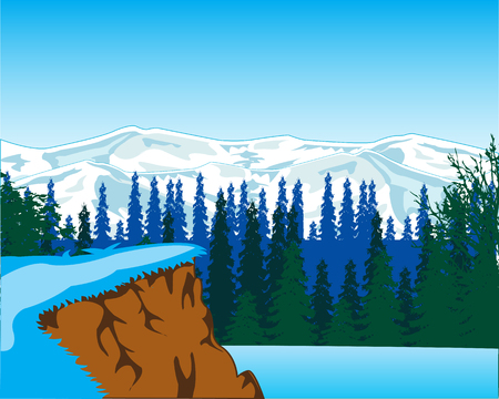 The Beautiful winter landscape with mountain and wood.Vector illustration