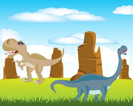 prehistorical: The Prehistorical animals dinosaurs on green meadow.Vector illustration