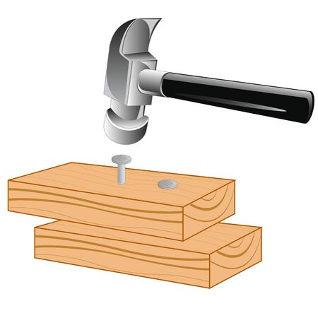 Wooden board with nail and gavel on white background is insulated Illustration