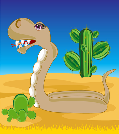 coldblooded: The Reptile snake in desert with cactus.Vector illustration Illustration