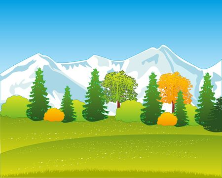 Beautiful landscape of the snow mountains and wood by early autumn