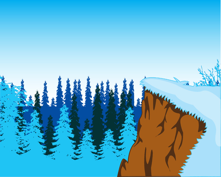 The Steep ravine and wood coated by snow.Vector illustration