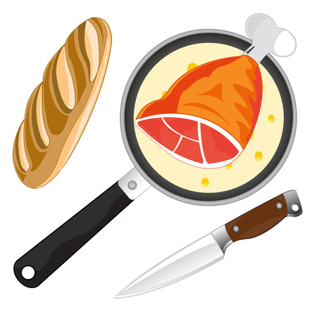 Griddle with fried by meat and long loaf of bread with knife Illustration