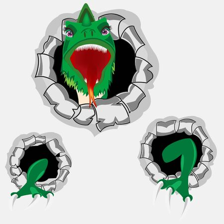 teeths: The Green dragon peers out torn hole in wall.Vector illustration