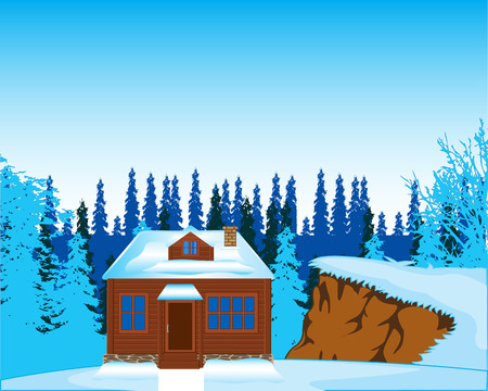 fur trees: The Small lodge on glade in wood in winter. Vector illustration