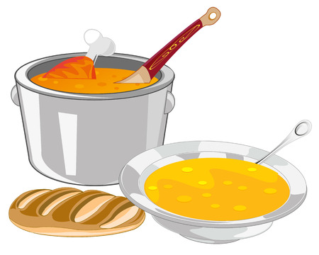 saucepan: The Saucepan and plate of soup on table. Vector illustration Illustration