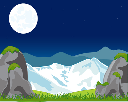 sky rise: Landscape with mountain in the night. Vector illustration Illustration