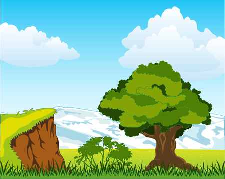 Colorful landscape of the snow mountains and glade with tree. Vector illustration