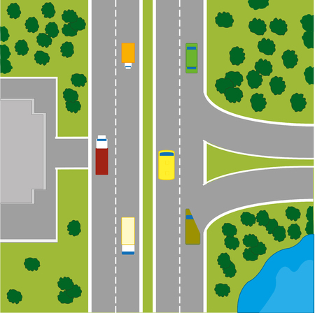 overhand: The Plan to terrain with car road and building. Vector illustration Illustration