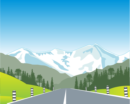 sectoring: The Car road in mountain terrain. Vector illustration Illustration