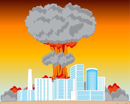convulsión: La explosión atómica en la ciudad y gran potencia. ilustración vectorial Vectores